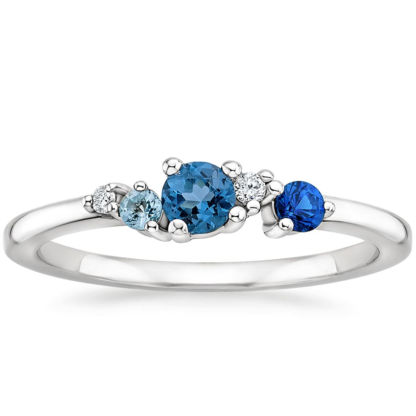 Blue Gemstone Cluster Ring