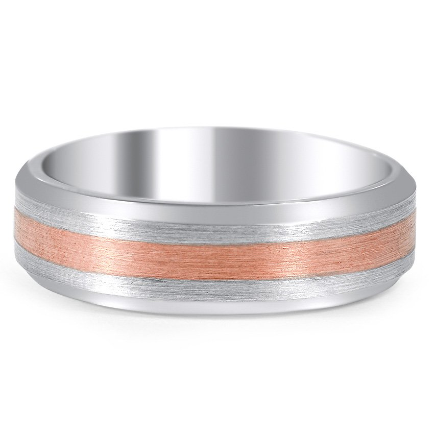 Custom Beveled Edge Matte Ring with Stripe