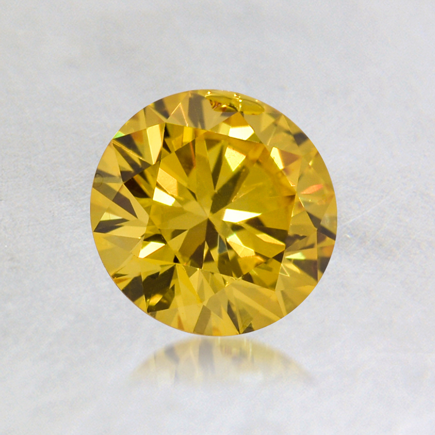 0.70 ct. Lab Created Fancy Vivid Yellow Round Diamond
