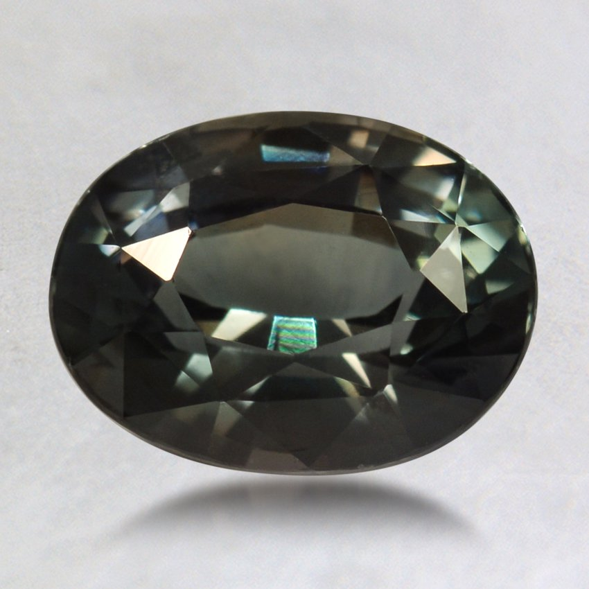8.5x6.5mm Green Oval Sapphire, top view