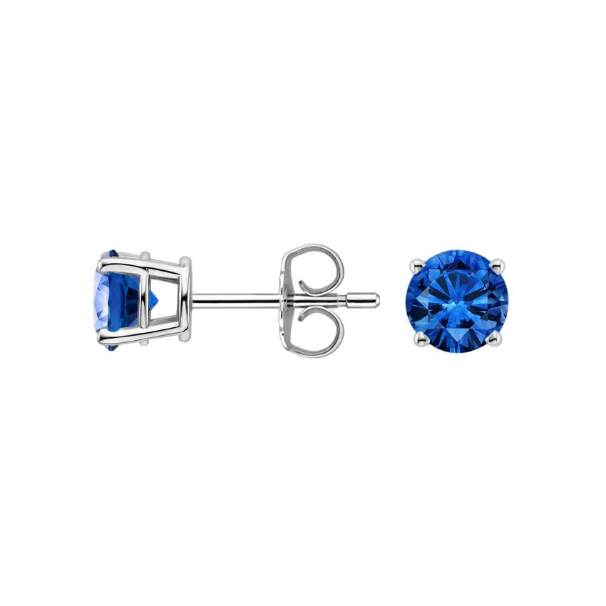 Platinum Sapphire Stud Earrings (5mm), top view