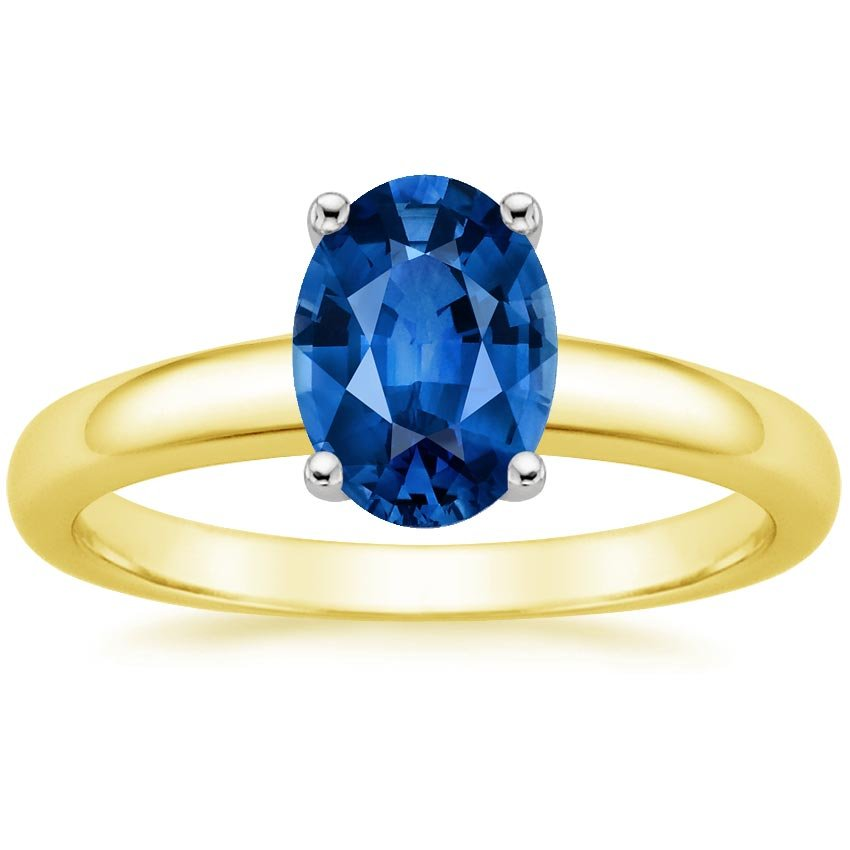 18K Yellow Gold Sapphire 3mm Comfort Fit Ring, top view