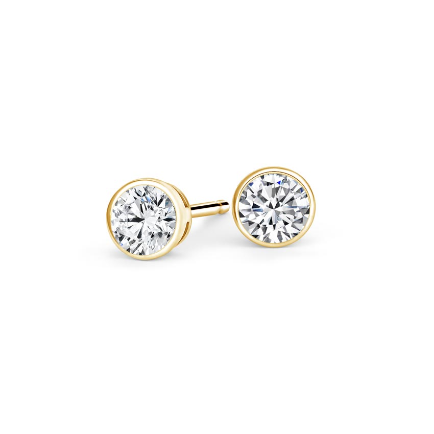 18K Yellow Gold Bezel-Set Round Diamond Stud Earrings, top view