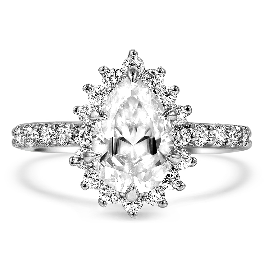 Custom Bursting Halo Diamond Ring