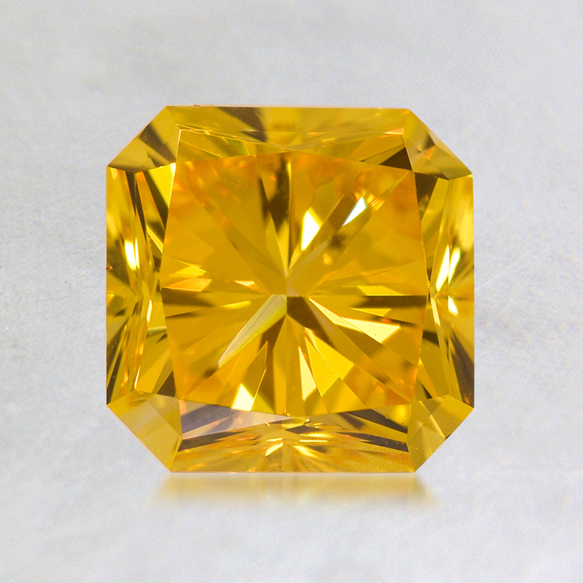 1.50 ct. Lab Created Fancy Vivid Yellow Radiant Diamond, top view