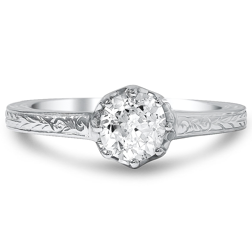 Custom Antique Inspired Engraved Eight Prong Diamond Ring