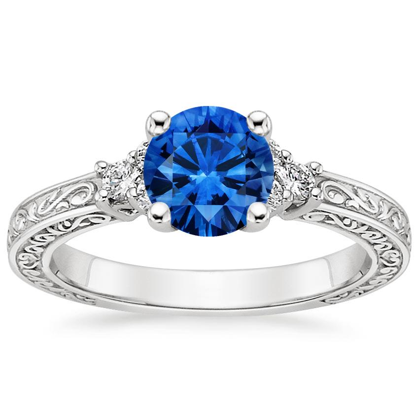 Sapphire Adorned Trio Diamond Ring in 18K White Gold with 6mm Round Blue Sapphire
