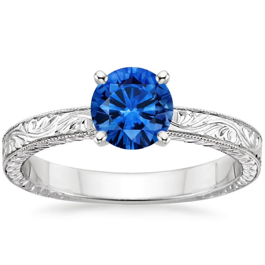 Sapphire Hand-Engraved Laurel Ring in Platinum with 6mm Round Blue Sapphire