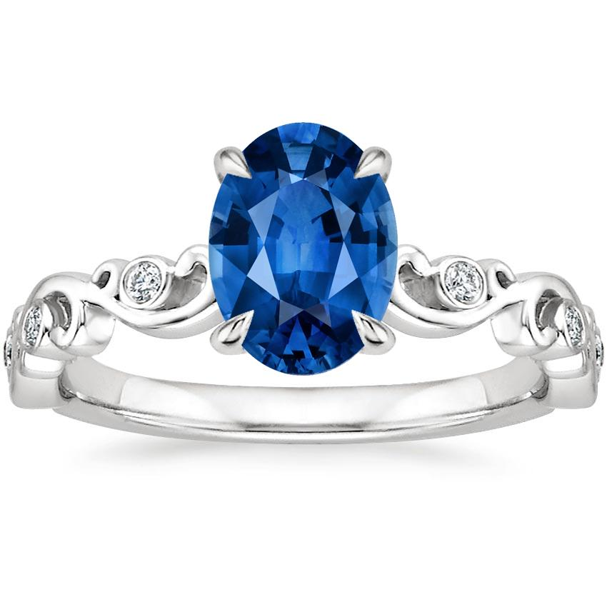 Ivy Scroll Bands: Sapphire Petite Ivy Scroll Diamond Ring In Platinum
