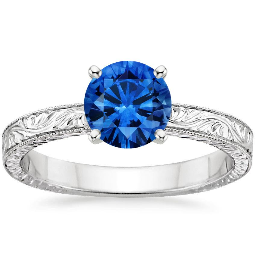Sapphire Hand-Engraved Laurel Ring in 18K White Gold with 6.5mm Round Blue Sapphire