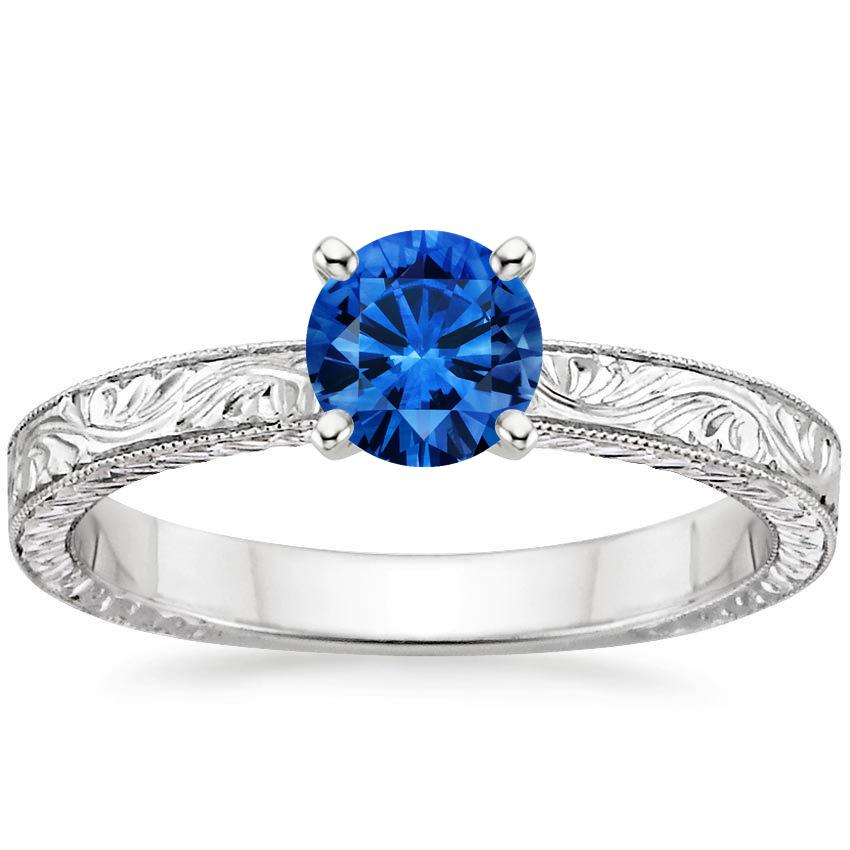 Sapphire Hand-Engraved Laurel Ring in Platinum with 5.5mm Round Blue Sapphire