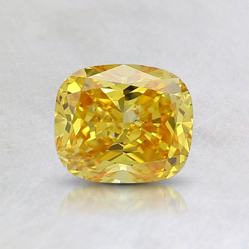 0.61 Ct. Fancy Vivid Orangy Yellow Cushion Lab Created Diamond