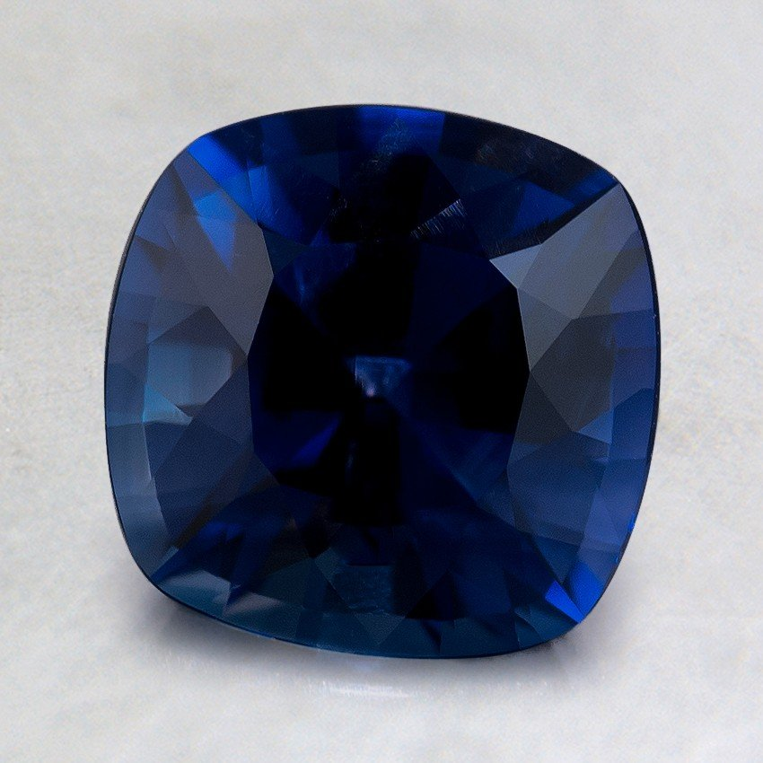 7.5mm Premium Intense Blue Cushion Sapphire, top view