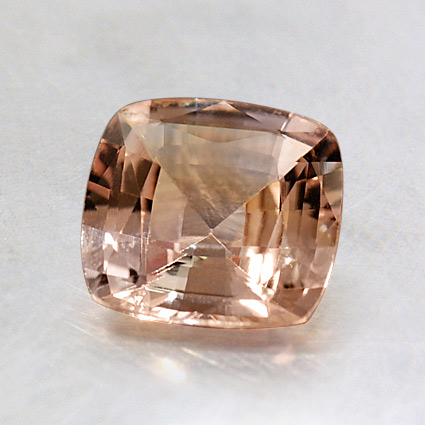 6.7mm Unheated Peach Cushion Sapphire, top view