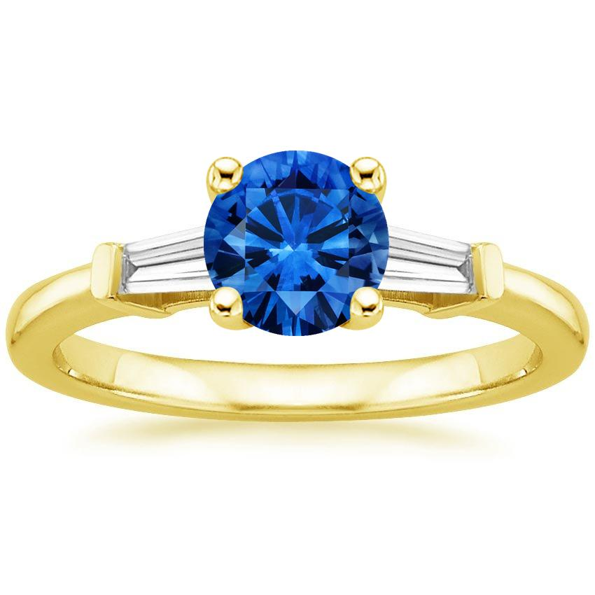 Sapphire Tapered Baguette Diamond Ring in 18K Yellow Gold with 6mm Round Blue Sapphire