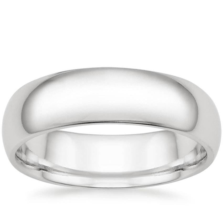 6mm Comfort Fit Wedding Ring in 18K White Gold