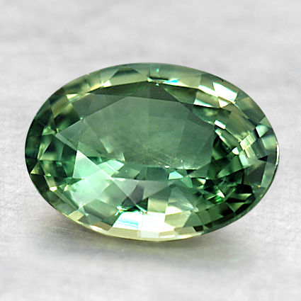 9x6.5 Green Oval Sapphire, top view