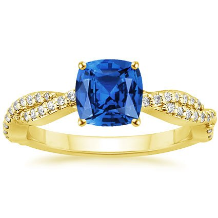 18K Yellow Gold Sapphire Twisted Vine Diamond Ring, top view