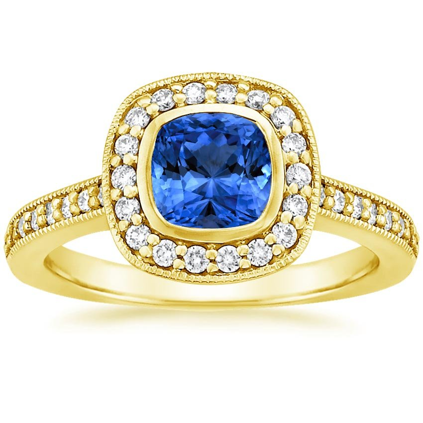 Sapphire Fancy Bezel Halo Diamond Ring with Side Stones in 18K Yellow Gold with 6x6mm Cushion Blue Sapphire