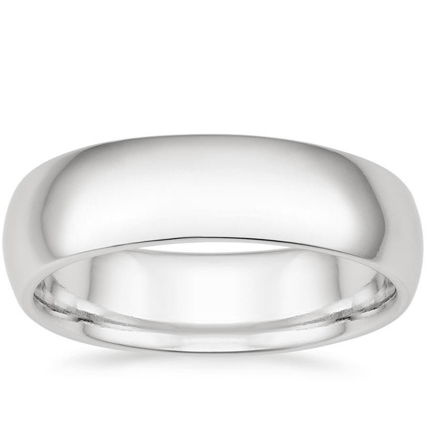 18K White Gold 6mm Comfort Fit Wedding Ring, top view
