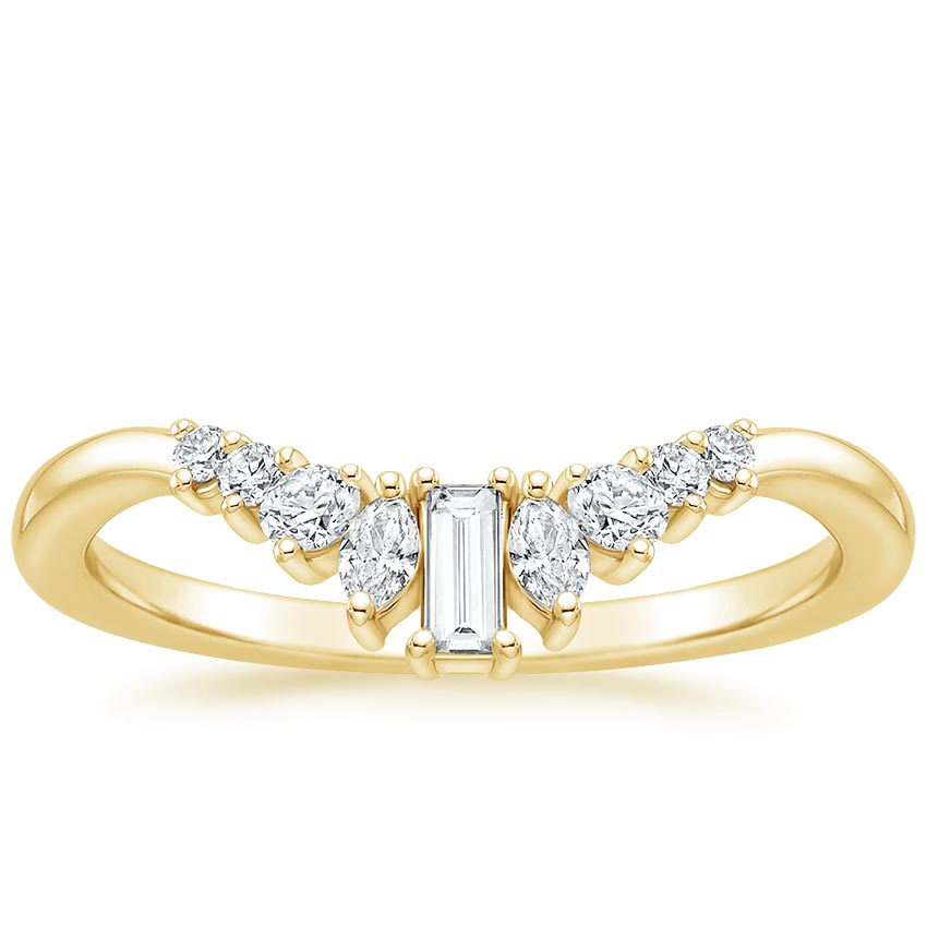 Yellow Gold Curved Baguette Diamond Ring