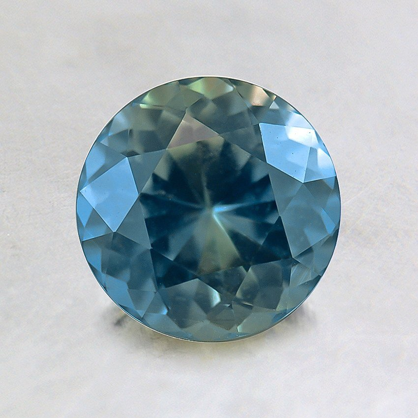6.5mm Premium Teal Round Sapphire, top view