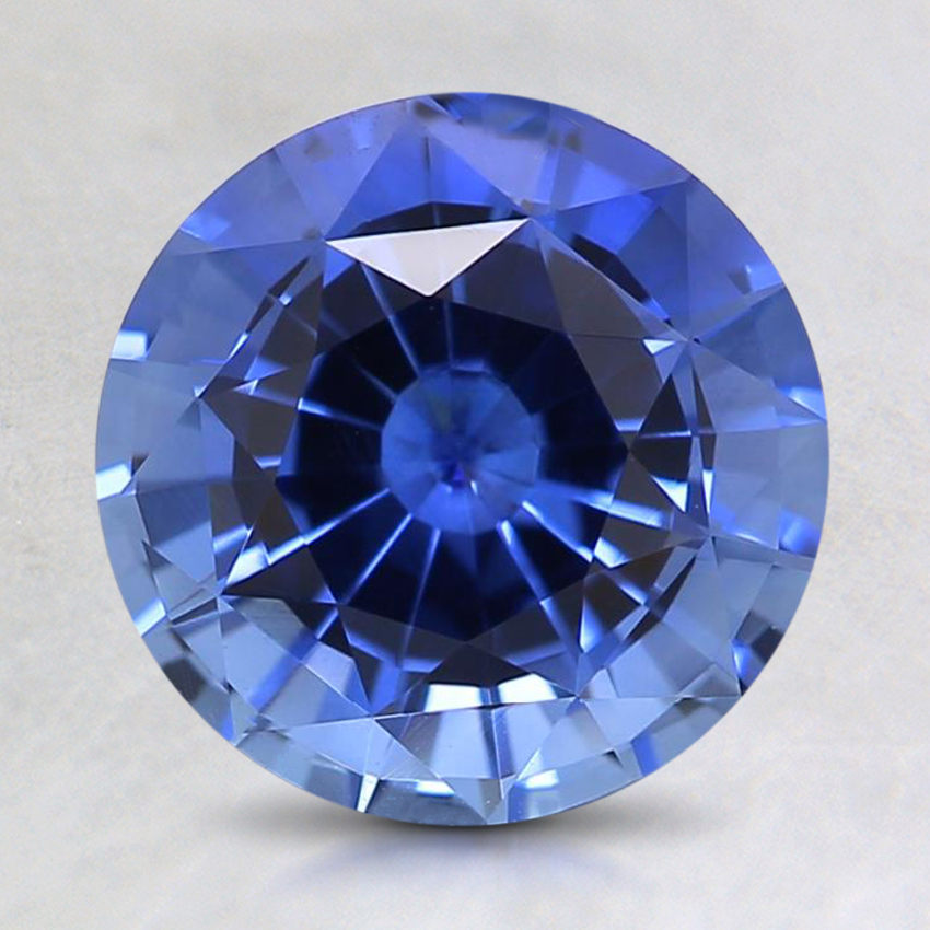 8mm Blue Round Sapphire, top view