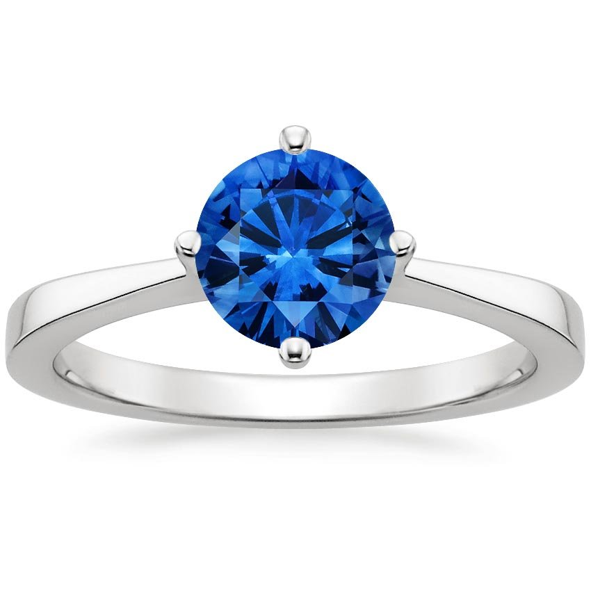 Sapphire True North Ring in 18K White Gold with 6.5mm Round Blue Sapphire