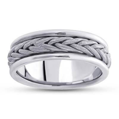 18K White Gold Gibraltar Wedding Ring, top view