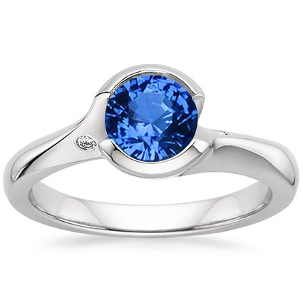 Sapphire Cascade Ring with Diamond Accents in 18K White Gold with 6mm Round Blue Sapphire