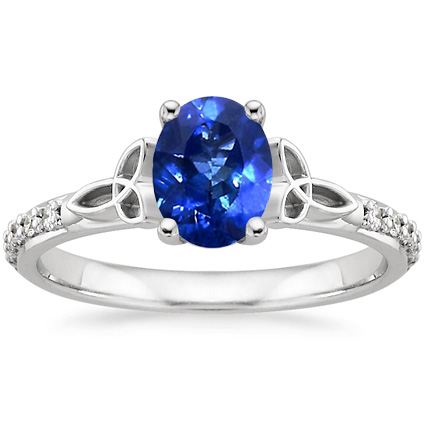Sapphire Luxe Celtic Love Knot Ring In 18k White Gold