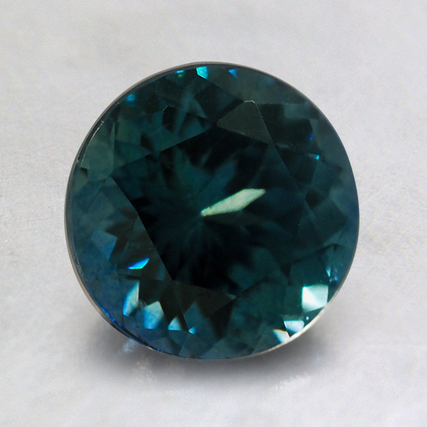 7mm Montana Teal Round Sapphire, top view