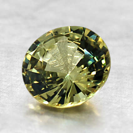 7mm Yellow Round Sapphire, top view