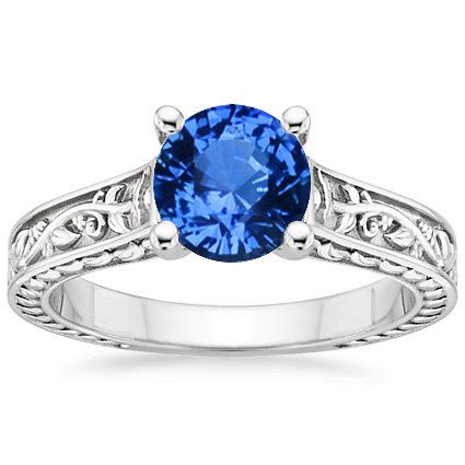 18K White Gold Sapphire Jardinière Ring, top view
