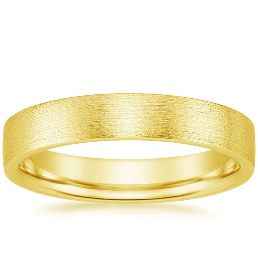 18K Yellow Gold 4mm Flat Matte Comfort Fit Wedding Ring, top view