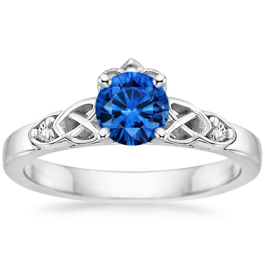 Sapphire Celtic Claddagh Ring In 18k White Gold