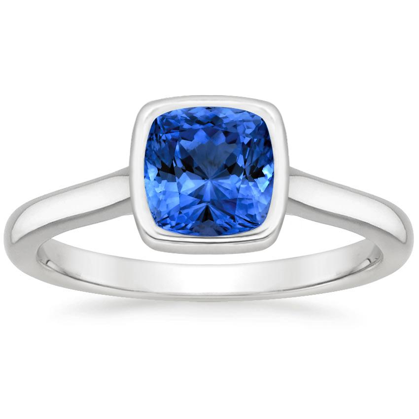 Sapphire Luna Ring in Platinum with 6x6mm Cushion Blue Sapphire