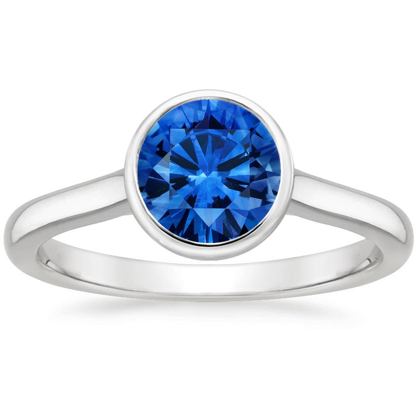 Sapphire Luna Ring in 18K White Gold with 6.5mm Round Blue Sapphire