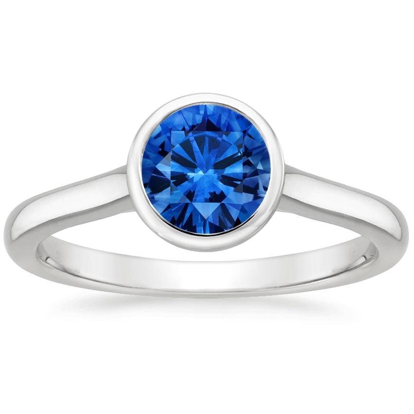 Sapphire Luna Ring in 18K White Gold with 6mm Round Blue Sapphire