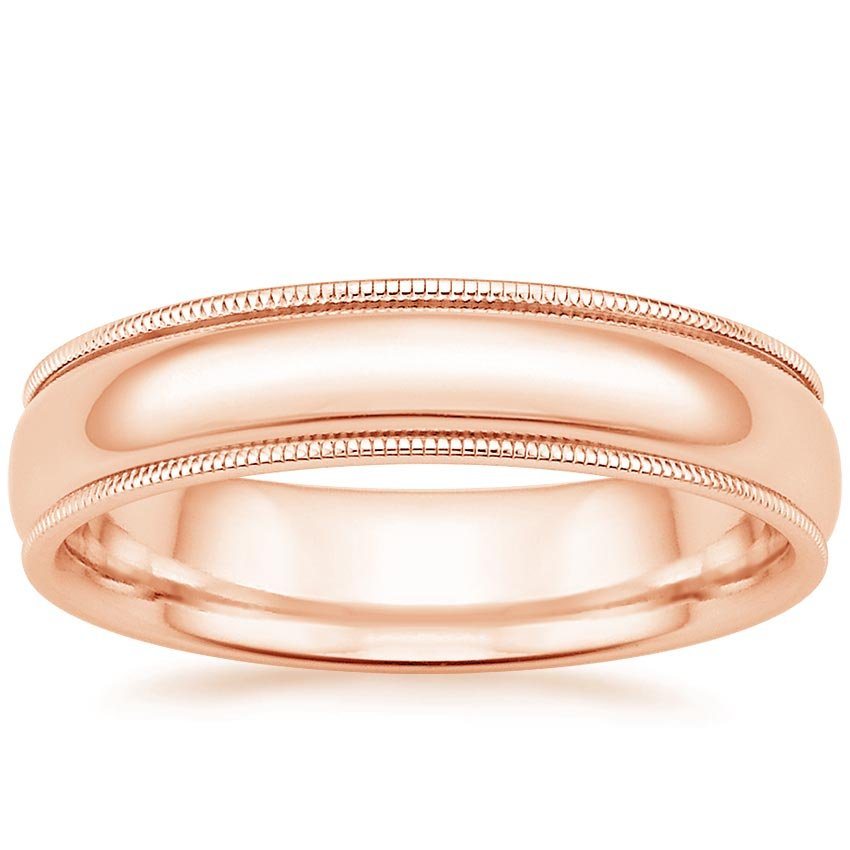 14K Rose Gold 5mm Milgrain Wedding Ring, top view