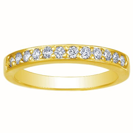 18K Yellow Gold Bead-Set Round Diamond Ring, top view