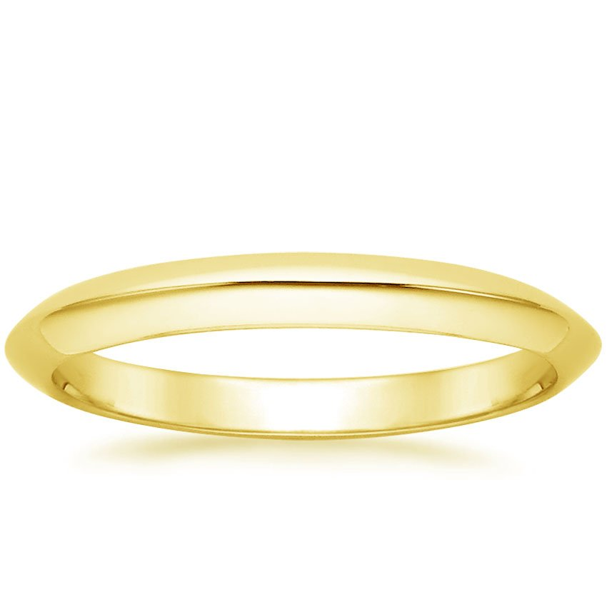18K Yellow Gold Classic Wedding Ring, top view