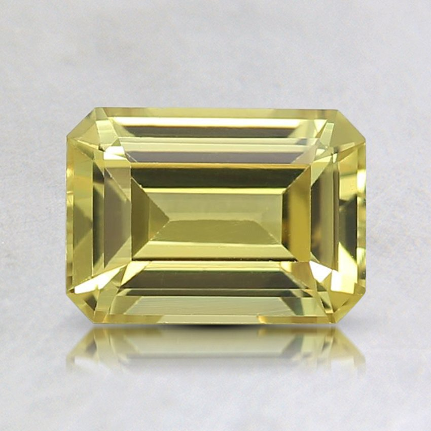 7x5mm Yellow Emerald Cut Sapphire, top view