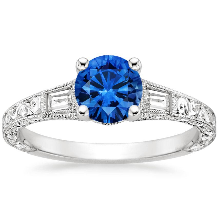 Sapphire Regalia Diamond Ring in 18K White Gold with 6mm Round Blue Sapphire