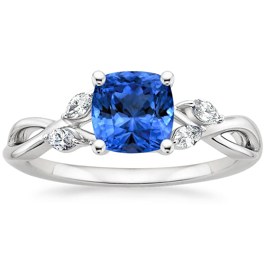 Platinum Sapphire Willow Diamond Ring, top view