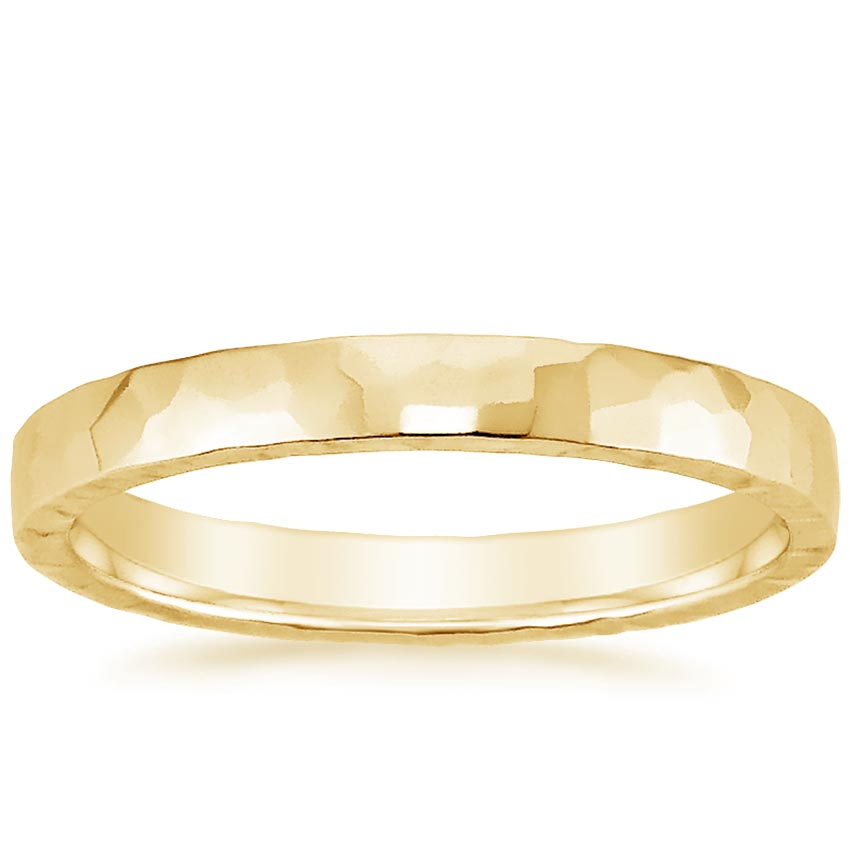 Yellow Gold 2.5mm Hammered Quattro Wedding Ring