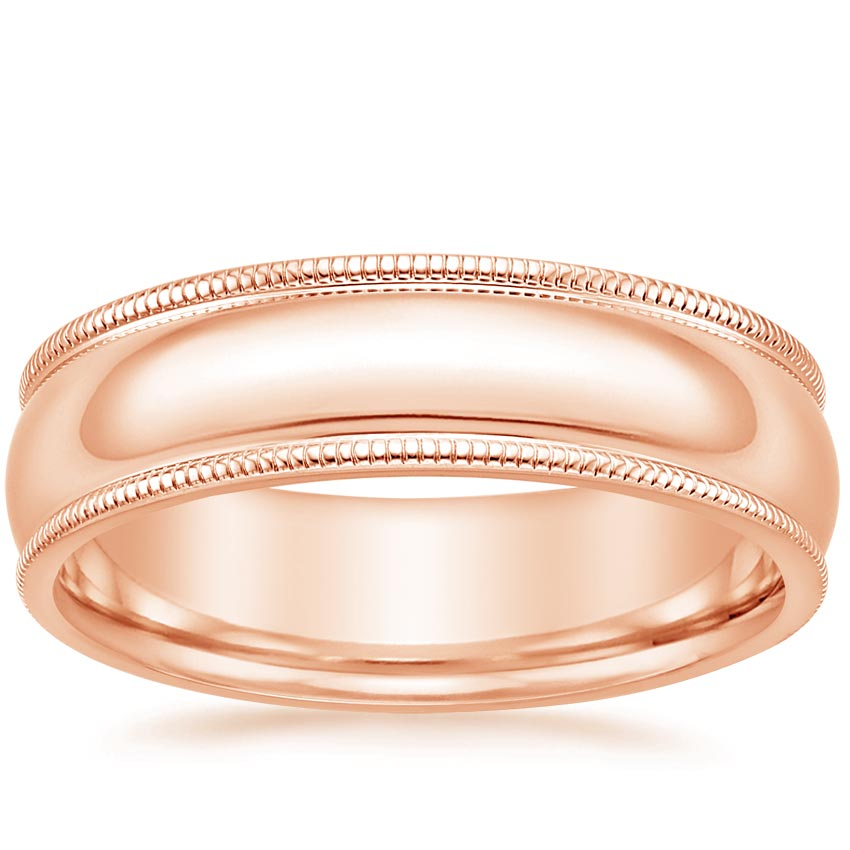 Rose Gold 6mm Milgrain Wedding Ring