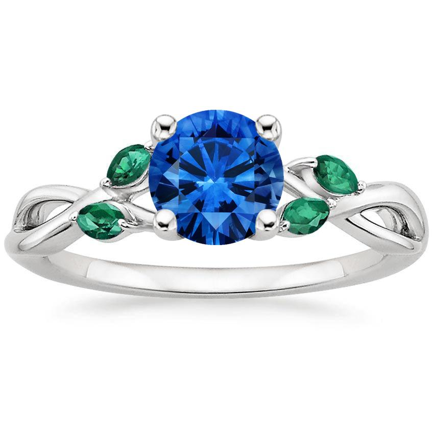 18K White Gold Sapphire Willow Ring With Lab Emerald Accents, top view