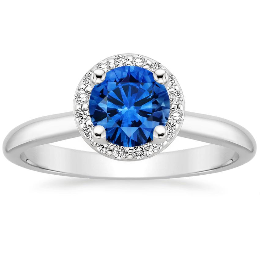 18K White Gold Sapphire Halo Diamond Ring (1/8 ct. tw.), top view