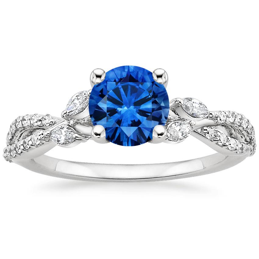Sapphire Luxe Willow Diamond Ring (1/3 ct. tw.) in Platinum with 6mm Round Blue Sapphire